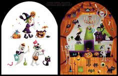 """""""Sticker Friends Halloween - Costumes"""" #2015 #greg #abbott #art #artist #illustration #illustrator #halloween #book #picture #childrens #sticker #stickers #novelty #publication #kidlit #monster #character #bat #skull #witch #mummy #pumpkin #zombie #haunted #ghost #house #tree #party #event #occassion #grave #spooky"""