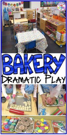 Play: Bakery Dramatic Play - how to change your dramatic play center into a bakery in a preschool, pre-k, and kindergarten classr Preschool Centers, Preschool Learning, Kindergarten Classroom, Preschool Activities, Preschool Cooking, Preschool Curriculum, Indoor Activities, Teaching Art, Classroom Decor