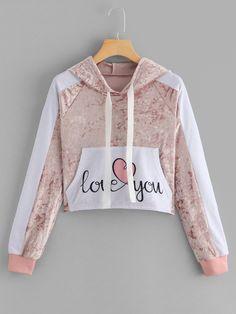 Drawstring Kangaroo Pocket Hooded SweatshirtFor Women-romwe