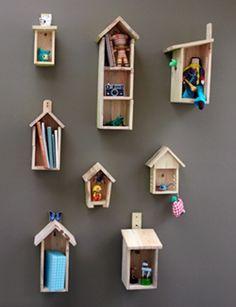 Bird house shelves- cute for kid's room! Girl Room, Girls Bedroom, Child's Room, Bedroom Wall, Bedroom Decor, House Shelves, Room Shelves, Wooden Shelves, Display Shelves