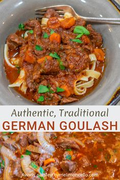 AUTHENTIC GERMAN GOULASH – Parsley Thyme & Limoncello An authentic, traditional German Goulash that is packed with flavor. Healthy, delicious, this recipe is soothing to the soul German Goulash, Beef Goulash, Goulash Recipes, Beef Recipes, Cooking Recipes, Healthy Recipes, Flour Recipes, Goulash Soup Recipe German, Easy Cooking