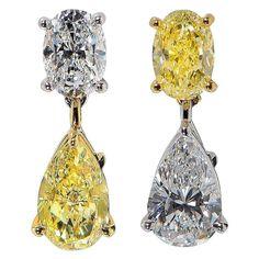 Tiffany & Co. Diamond Gold Platinum Drop Earrings   From a unique collection of vintage drop earrings at https://www.1stdibs.com/jewelry/earrings/drop-earrings/