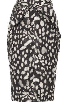 Max Mara - Leopard-print Cotton-poplin Skirt - Charcoal - UK