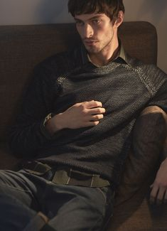 fe48787ef352 British model Matthew Bell gets comfortable in a Reiss sweater