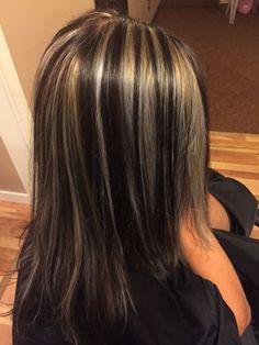Dark brown with blond chunks