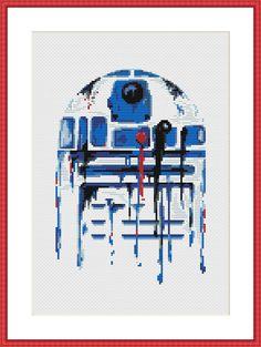 Star Wars Cross Stitch PDF pattern R2D2 Watercolor