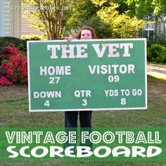 Vintage Football Scoreboard sign inspired by Pottery Barn Kids sports themed room