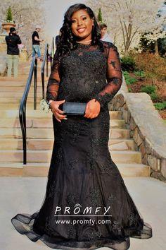 566b1892c2e Beaded Black Long Sleeve Mermaid Long Plus Size Prom Formal Dress