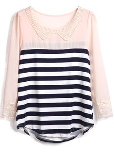 Navy Apricot Striped Long Sleeve Chiffon Blouse - Sheinside.com