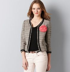 I want this spring tweed jacket! Boucle Jacket, Tweed Jacket, Cute Jackets, Sweater Set, Striped Tee, Well Dressed, Stylish, My Style, How To Wear