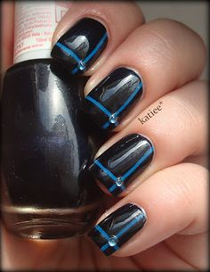 Blue Manicure with Striping Tape & Rhinestones