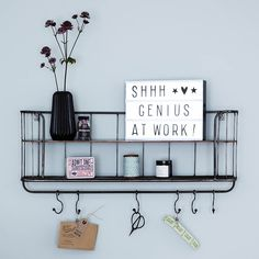 I've just found Two Shelf Metal Wall Rack. This practical metal shelf rack is just the ticket for displaying all your bits and bobs in a stylish way. Metal Walls, Wall Racks, Wall Accessories, Metal Shelves, Modern Wall Hooks, Industrial Wall, Shelves, Wall Hook Rack, Wall Unit