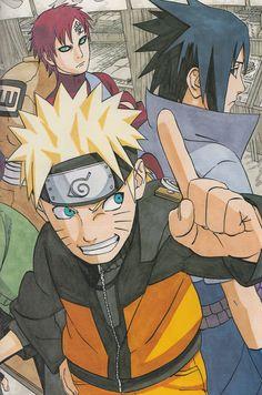 Masashi Kishimoto original Sasuke Uchiha, Gaara, Naruto Uzumaki