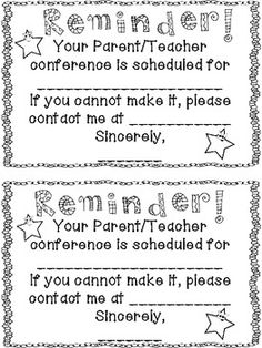 UPDATED Spanish version now available! I have created a simple half sheet conference reminder note to send home with students before their parent teacher conference. One is b/w and the other is in color. Parent Teacher Communication, Parent Teacher Conferences, Parent Notes, Parent Teacher Conference Forms, Parent Night, Letter To Parents, Parents As Teachers, Parent Letters, Classroom Fun