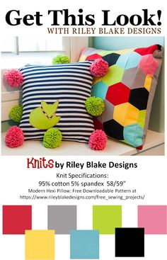 Get This Look!: Modern Hexi Pillow covered in Riley Blake Jersey Knit fabric. Free downloadable pattern at: https://www.rileyblakedesigns.com/shop/category/riley-blake-designs/knit/ #rileyblakedesigns #knit #jersey #freepattern #hexi #modernhexi