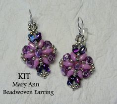 PDF Tutorial Beadwoven Earrings SuperDuo Earring by mybeads4you, $15.00