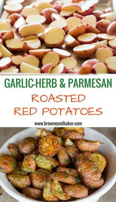Garlic-Herb & Parmesan Roasted Red Potatoes - The BEST roasted red potato recipe!!   browneyedbaker.com