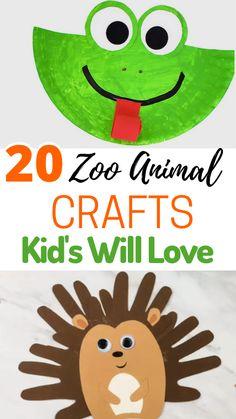 20 Zoo Animal Crafts Preschoolers Will Love Farm Animal Crafts, Animal Art Projects, Toddler Art Projects, Animal Crafts For Kids, Fun Crafts For Kids, Animals For Kids, August Kids Crafts, Simple Crafts, Summer Crafts
