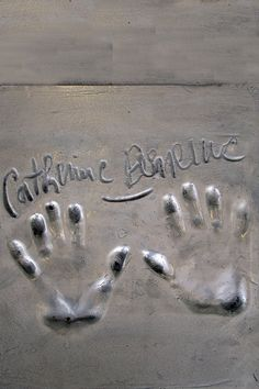 Catherine Deneuve's handprints in Cannes