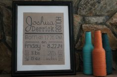 Personalized Birthday Announcement Burlap Sign by ArrowTreeDesigns on Etsy