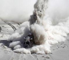 Atomic Motorcycle at the Dakar Rally.