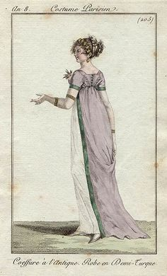 white dress and lavender open robe, année 8 Costume Parisien 1800s Fashion, 18th Century Fashion, Vintage Fashion, Steampunk Fashion, Gothic Fashion, Regency Dress, Regency Era, Historical Costume, Historical Clothing