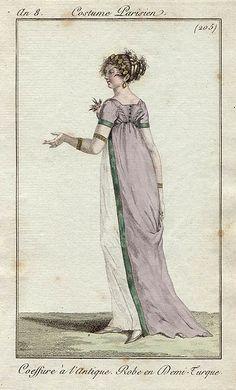 Costume Parisien, An 8 [1799-1800], plate 205. 'Coeffure a l'Antique, Robe en Demi-Turque'