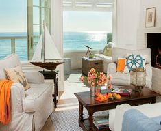 Coastal Living House Tours at Wayfair: http://www.completely-coastal.com/2016/04/coastal-house-tours-wayfair-shop-the-look.html A comfy nautical living room!