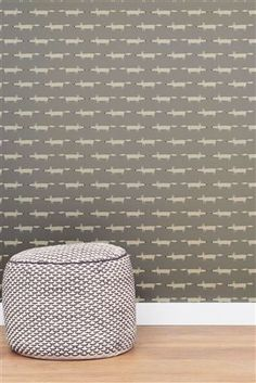 Buy Scion Little Silver Fox Wallpaper from the Next UK online shop Wallpaper Online, Wallpaper Decor, Wallpaper Ideas, Scion Mr Fox, Little Fox, Butterfly Wallpaper, Striped Wallpaper, Baby Boy Nurseries, Designer Wallpaper