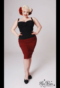 Dixiefried Clothing Perfect Pencil Skirt in Burgundy in Plus Sizes. We can't all be a size even a Rockabilly Looks, Rockabilly Fashion, Plus Size Dresses, Plus Size Outfits, Vintage Outfits, Vintage Fashion, Vintage Style, Vintage Clothing, Pinup Girl Clothing