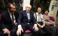 Mayor of London, Boris Johnson takes a train ride on the Singapore underground mass rapid system after attending the FinTech event at the ArtScience Museum in Singapore. Mayor Boris Johnson is on a six day trade mission to the Far East to build on his work to create jobs and growth, and promote London as a major investment destination as he leads a trade mission to Singapore, Jakarta and Kuala Lumpur.