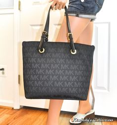 Sale! Michael Kors Jet Set Signature Grab Bag Tote Shoulder Purse in Black NWT #MichaelKors #handbags
