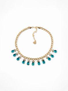MONKEY ROAD JEWELRY_Blue Crystal Necklace   www.monkeyroadjew...