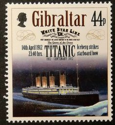 Sello: Iceberg strikes starboard bow April 1912 hrs (Gibraltar) (Centenary of the Sinking of the Titanic) Mi:GI 1441 Titanic Ship, Rms Titanic, Oceans 14, Postage Stamp Art, Coins, Poster, Clip Art, Banknote, Roosevelt