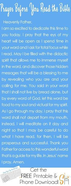 A prayer before you read the bible   http://socialhermit.me. It's important to invite the Holy Spirit into your quiet time with the Lord and have HIm direct your study time.