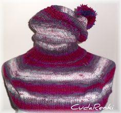 otulacz i czapka w cieniach i odcieniach fioletu