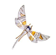 Edwardian Agate Sapphire Diamond Gold Platinum Dragonfly Brooch   From a unique collection of vintage brooches at https://www.1stdibs.com/jewelry/brooches/brooches/