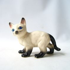 vintage 1950's siamese cat figurine blue rhinestone eyes by RecycleBuyVintage, $15.00