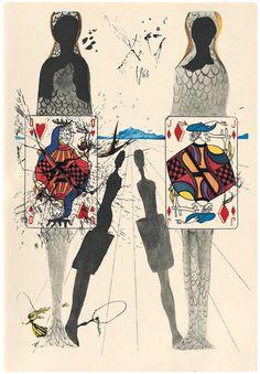 Salvador Dali's illustration for Lewis Carroll's Alice's Adventures in Wonderland. Alice In Wonderland Illustrations, Alice In Wonderland Book, Adventures In Wonderland, Lewis Carroll, Salvador Dali Kunst, Art Du Monde, Colossal Art, Caravaggio, Art Moderne