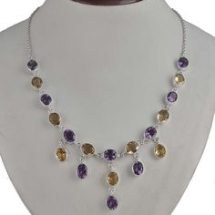 925 STERLING SILVER FANCY CITRINE & AMETHYST BEAUTIFUL NECKLACE 30.90g NK0074 #Handmade #NECKLACE