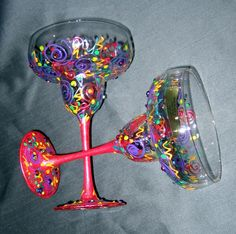 """Hand Painted Margarita Glass """"Confetti"""", Hand painted with a blend of non toxic paints. Sooo much fun for """"Happy Hour!""""  Thank you so much in advance to all of you that look and comment. I am enjoying viewing everyone elses talents! - Joyce, Home Decor Project"""