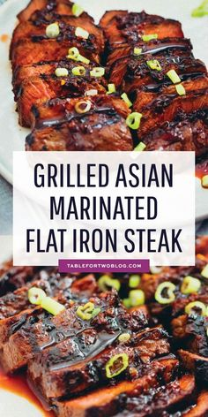 grilled Asian marinated flat iron steak is a quick weeknight meal when you're looking to change up traditional grilled steak!This grilled Asian marinated flat iron steak is a quick weeknight meal when you're looking to change up traditional grilled steak! Grilled Steak Recipes, Grilled Meat, Grilling Recipes, Meat Recipes, Dinner Recipes, Grilling Ideas, Grilled Steaks, Flank Steak Recipes, Recipies