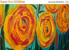 Abstract  Art Painting Poppy Painting Original by QiQiGallery