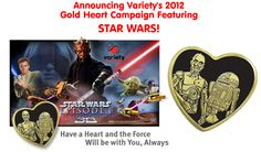 $3 Star Wars Gold Heart Pins -- all proceeds benefits children with special needs