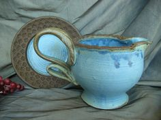 Ceramic Gravy Boat with Saucer in Denim Blue and Black Mountain. By Sally Anne Stahl - www.clayshapergallery.com