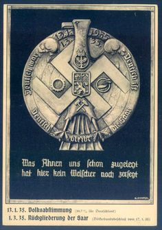 Saar vote. Philasearch.com - German Empire Picture postcards. Look at the graphics, an eagle all entangled in a swastika.