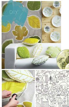 Create fun DIY leaf pillows using our nature theme GURINE fabric!