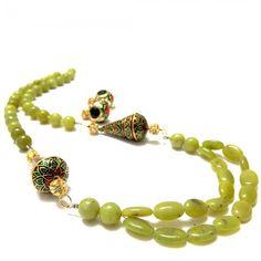 Green Beads Meenakari Necklace Set, $43