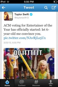 Taylor's tweet just made me laugh <3 Don't forget to vote for her, Swifties!!!!!!!!!
