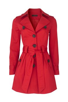 Red trench coat.